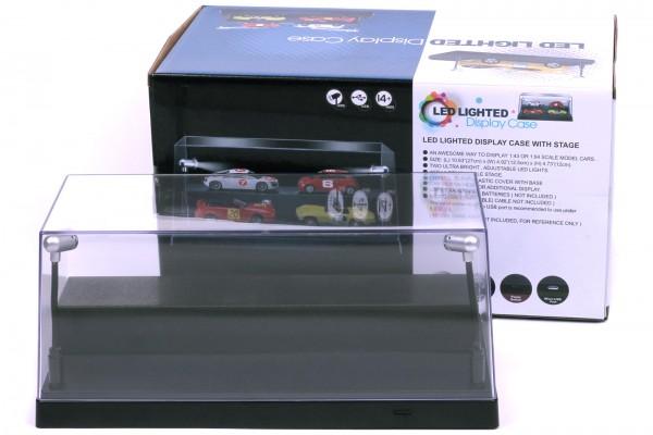 LED Vitrine für Modellautos im Maßstab 1:24, 1:43 oder 1:64, incl. Dimmkabel, Schwarze Basis
