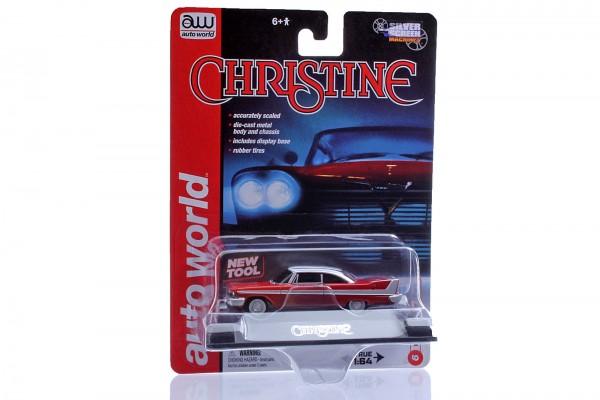 "Auto World (awss6401) – Plymouth Fury 1958 Diecast Modellauto ""Christine"" – Maßstab 1/64 – rot weiß"