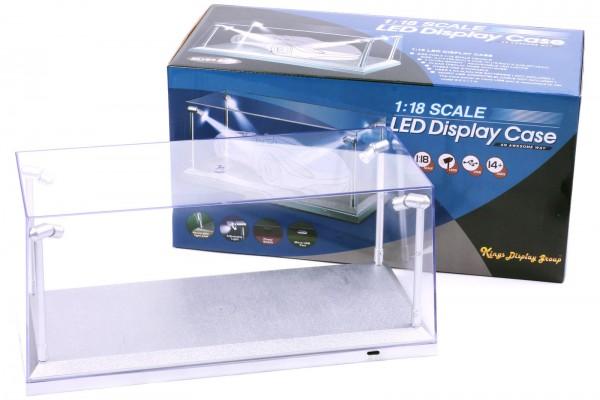 LED Acryl Vitrine für Diecast Modellautos im Maßstab 1:18, silberne Basis