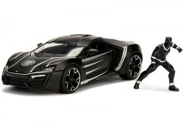 Lykan Hypersport Diecast Modellauto mit Black Panther Figur aus Marvel Avengers, Maßstab 1:24