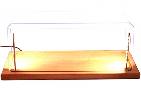 Vitrine für XXL Modellautos mit Echtholzboden, LED Beleuchtung, Dimm-USB-Kabel, Maßstab 1:18 / 1:15