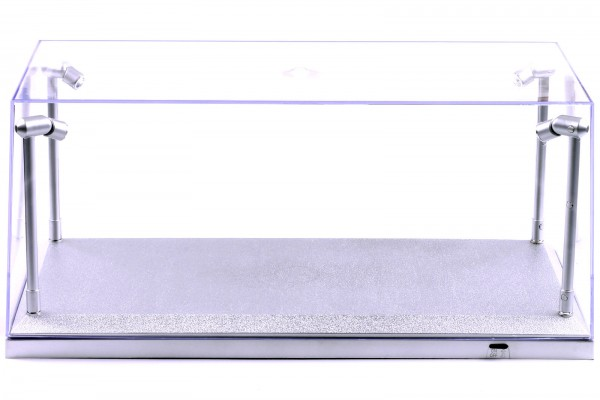 LED Vitrine für Modellautos im Maßstab 1:18, incl. Dimmkabel, silberne Basis