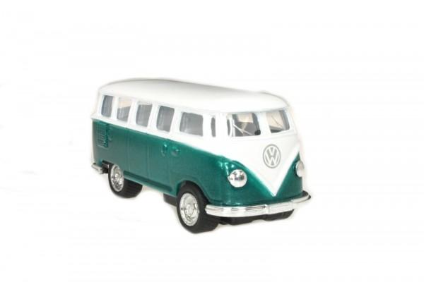 Kinsmart 1:64 1962 Volkswagen Classical Bus grün/weiß mit Vitrine