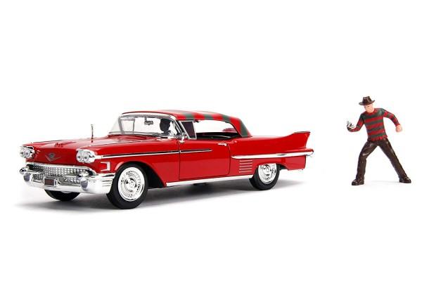 Cadillac Series 62 1958 rot, mit Figur Freddy Krueger aus Nightmare On Elm Street, Maßstab 1:24